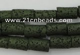 CLV393 15.5 inches 8*14mm tube dyed lava beads wholesale