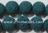 CLV456 15.5 inches 16mm round dyed blue lava beads wholesale