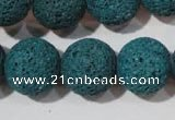 CLV457 15.5 inches 18mm round dyed blue lava beads wholesale