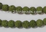 CLV460 15.5 inches 8mm round dyed green lava beads wholesale
