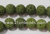 CLV461 15.5 inches 10mm round dyed green lava beads wholesale