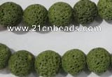 CLV462 15.5 inches 12mm round dyed green lava beads wholesale