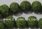 CLV463 15.5 inches 14mm round dyed green lava beads wholesale