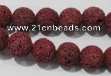 CLV469 15.5 inches 10mm round dyed red lava beads wholesale