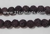 CLV476 15.5 inches 8mm round dyed purple lava beads wholesale