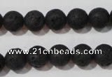 CLV485 15.5 inches 10mm round black lava beads wholesale