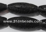 CLV492 15.5 inches 16*40mm rice black lava beads wholesale