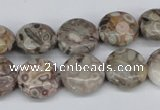 CMB08 15.5 inches 14mm flat round natural medical stone beads