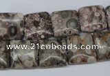 CMB19 15.5 inches 14*14mm square natural medical stone beads