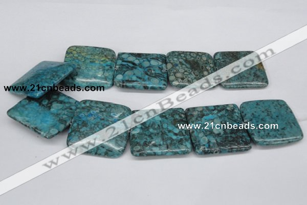 CMB56 15.5 inches 40*40mm square dyed natural medical stone beads
