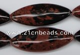 CME01 15.5 inches 15*40mm marquise mahogany obsidian beads