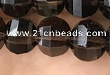 CME212 15.5 inches 7*9mm - 8*10mm pumpkin smoky quartz beads
