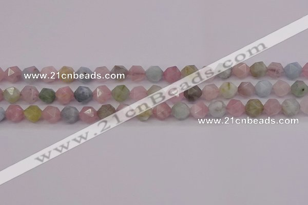 CMG202 15.5 inches 8mm faceted nuggets morganite gemstone beads
