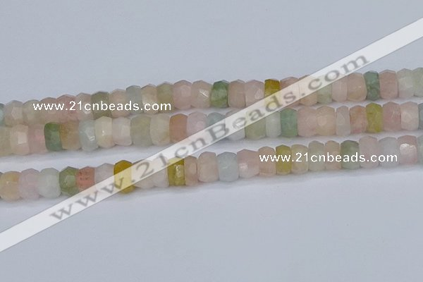 CMG218 15.5 inches 6*11mm faceted rondelle morganite beads
