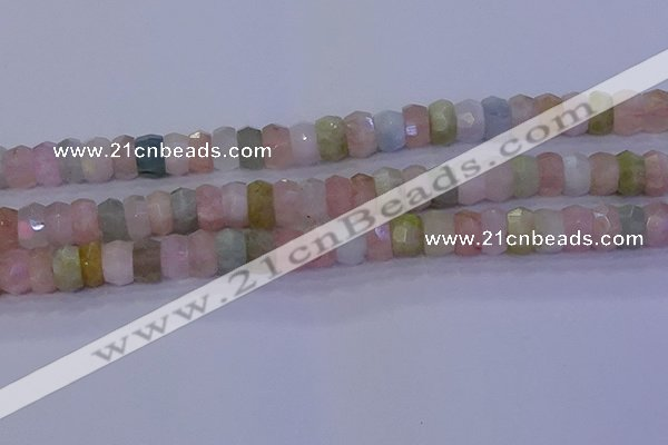 CMG223 15.5 inches 6*10mm faceted rondelle morganite beads