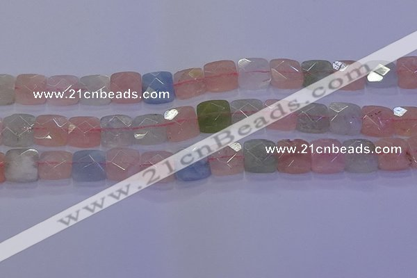 CMG260 15.5 inches 12*12mm faceted square morganite beads
