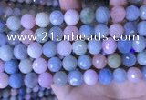 CMG418 15.5 inches 12mm faceted round morganite gemstone beads