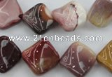 CMK165 15.5 inches 15*15mm twisted diamond mookaite beads wholesale