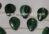 CMN322 Top-drilled 12*16mm flat teardrop natural malachite beads
