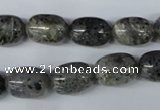 CMO11 15.5 inches 10*15mm drum moss quartz beads wholesale