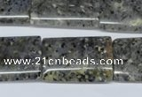 CMO19 15.5 inches 22*30mm flat tube moss quartz beads wholesale