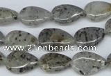 CMO22 15.5 inches 10*14mm flat teardrop moss quartz beads wholesale