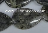 CMO23 15.5 inches 25*35mm flat teardrop moss quartz beads wholesale