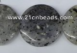 CMO28 15.5 inches 30mm flat round moss quartz beads wholesale