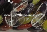 CMQ04 15.5 inches 14*18mm faceted oval multicolor quartz beads