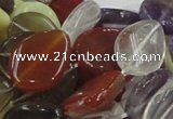 CMQ12 15*20mm twisted flat teardrop multicolor quartz beads