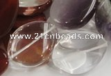 CMQ15 20*30mm twisted flat teardrop multicolor quartz beads