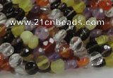 CMQ16 15.5 inches 6mm faceted coin multicolor quartz beads