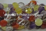 CMQ17 15.5 inches 8mm faceted coin multicolor quartz beads
