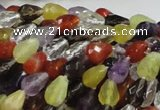 CMQ20 15.5 inches 8*10mm faceted teardrop multicolor quartz beads