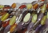 CMQ24 15.5 inches 5*10mm faceted rice multicolor quartz beads