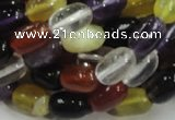 CMQ28 15.5 inches 8*12mm rice multicolor quartz beads wholesale