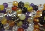 CMQ31 15.5 inches 6mm faceted round multicolor quartz beads
