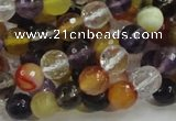 CMQ32 15.5 inches 8mm faceted round multicolor quartz beads