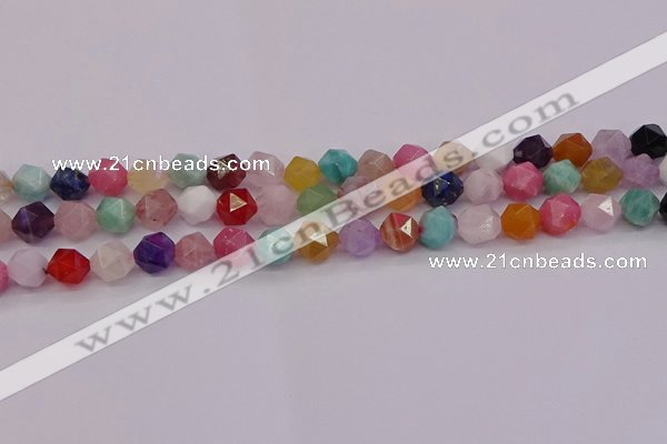 CMQ372 15.5 inches 8mm faceted nuggets mixed gemstone beads