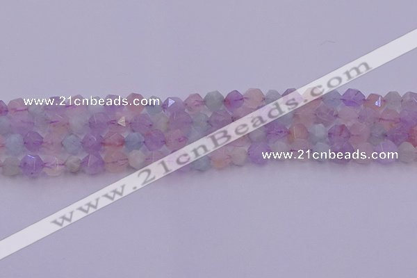 CMQ381 15.5 inches 6mm faceted nuggets mixed quartz beads