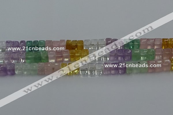 CMQ39 15.5 inches 6*10mm triangle mixed quartz beads wholesale