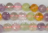 CMQ53 15.5 inches 10mm faceted round multicolor quartz beads
