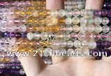 CMQ542 15.5 inches 6mm faceted round colorfull quartz beads