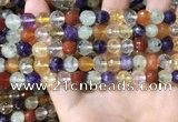 CMQ552 15.5 inches 8mm faceted round colorfull quartz beads