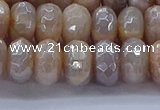 CMS1323 15.5 inches 6*10mm faceted rondelle AB-color moonstone beads