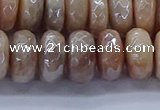 CMS1324 15.5 inches 7*12mm faceted rondelle AB-color moonstone beads