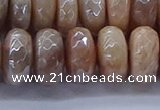 CMS1325 15.5 inches 7*14mm faceted rondelle AB-color moonstone beads