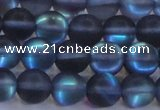 CMS1517 15.5 inches 8mm round matte synthetic moonstone beads
