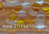 CMS1537 15.5 inches 8mm round matte synthetic moonstone beads