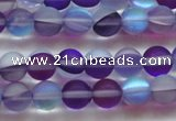 CMS1576 15.5 inches 6mm round matte synthetic moonstone beads